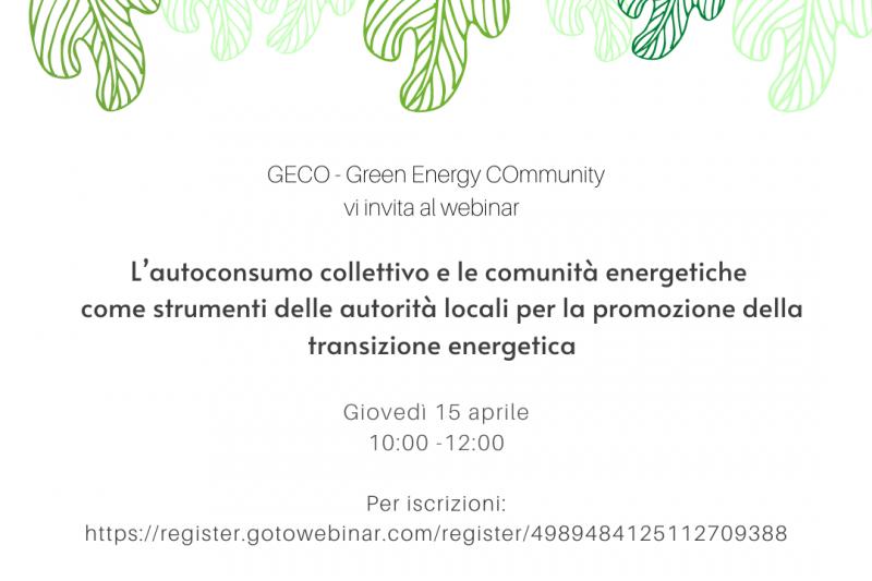 L'autoconsumo collettivo e le comunità energetiche come strumenti delle autorità locali per la promozione della transizione energetica